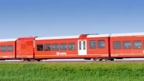 GRONINGEN, NETHERLANDS - SEPTEMBER, 2016: Arriva Spurt train travelling to city Groningen. N stock video footage