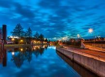 Groningen på natten, Nederländerna Royaltyfri Foto