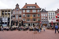 People shopping at Grote Markt Big Market in Groningen, The Netherlands royalty free stock photos