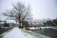 Groningen view on snow day Royalty Free Stock Image
