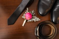 Groom's accessories: flower boutonniere in focus, leather belt, necktie, shoes. Stock Image