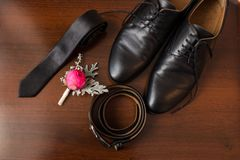 Groom's accessories: flower boutonniere, leather belt, necktie, shoes. Royalty Free Stock Photography
