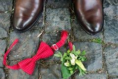 Groom's akcesoria: brown eleganccy buty i czerwony krawat Obrazy Stock