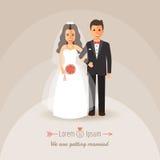 Groom и невеста на день свадьбы иллюстрация вектора