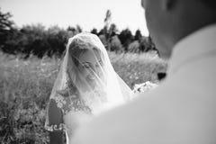 Groom и невеста совместно ювелирные изделия cravat пар кристаллические связывают венчание Стоковые Фотографии RF