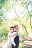 Groom и невеста совместно Wedding романтичные пары внешние стоковое фото