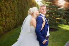Groom невесты нежно обнял плеча Стоковая Фотография RF