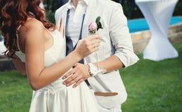 groom невесты счастливый удерживание шампанского невесты стеклянное Стоковое Фото