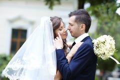 groom невесты счастливый ювелирные изделия cravat пар кристаллические связывают венчание Стоковые Изображения
