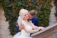 Groom нежно обнимает плеча ` s невесты Стоковые Изображения RF