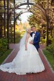 Groom нежно обнимает плеча ` s невесты стоковое фото