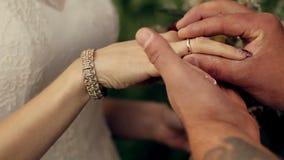 Groom носит невесту кольца на заходе солнца в парке акции видеоматериалы