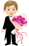 Groom. Holding a bouquet of roses Stock Photography