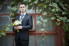 Groom. Portrait of young groom outdoor Royalty Free Stock Photography