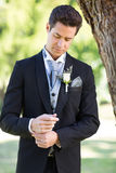 Groom adjusting sleeve at garden. Young handsome groom adjusting sleeve at garden Stock Image