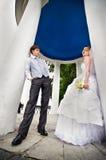 Groom adn bride for walk in park Royalty Free Stock Photo