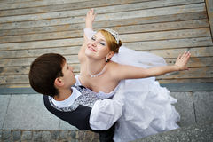 Groom adn bride on wedding walk. Happy groom adn bride on wedding walk royalty free stock photography