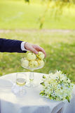 Groom with an apples Stock Photo