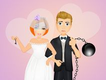 Groom with the ball at his feet. Funny illustration of groom with the ball at his feet Royalty Free Stock Images