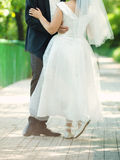 Groom with Ballerina Bride Stock Photography