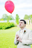 Groom  with balloon Stock Photo