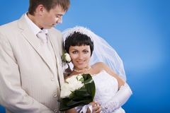 Groom and beautiful bride Royalty Free Stock Photo