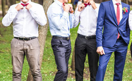 Groom With Best Man And Groomsmen At Wedding Stock Images