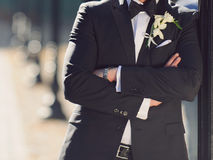 Groom in Black Jacket Royalty Free Stock Photos
