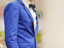 Groom in Blue Suit. And bow stock photo