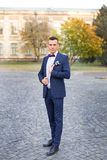 The groom in a blue suit and bow tie posing in the photo. Groom in blue suit with atlas bow Stock Images