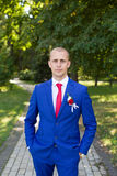 Groom in a blue suit standing in the alley. Portrait of the bride in the park Royalty Free Stock Image