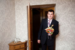 Groom with a bouquet Stock Photo