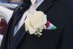 Groom bouquet and his outfit Royalty Free Stock Photo