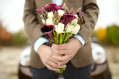 Groom with a bouquet Stock Image