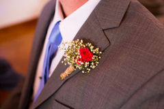 Groom Boutineer and Suit Stock Images