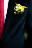 Groom boutonniere on a background of blue velvet jacket Stock Photo