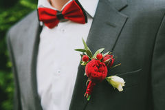 Groom boutonniere of red roses Stock Photo