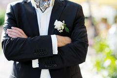 Groom with boutonniere Stock Photo