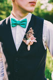 Groom with bow tie and boutonniere Royalty Free Stock Image