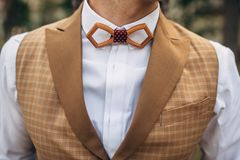 Groom in bow tie and waistcoat royalty free stock photo