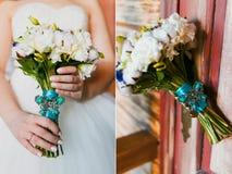 руки groom невесты букета bridal Стоковые Изображения RF