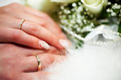 Groom and bride. Hands of groom and bride with golden wedding rings Stock Photography