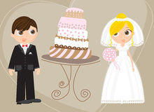 Groom and Bride. Bride and Groom with a wedding cake Royalty Free Stock Photos