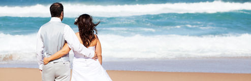 Groom and bride. On beach Stock Image