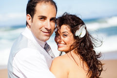 Groom and bride. Happy groom and bride on beach Royalty Free Stock Photos