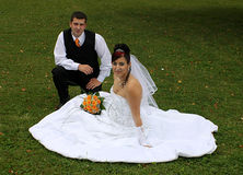 Groom and bride. Wedding pair on the lawn royalty free stock photos