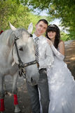 Groom and the bride against a grey horse Stock Image