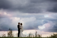 Groom and bride against the sky Stock Photos