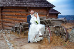 Groom and the bride against the wooden house and an old horse cart Royalty Free Stock Image