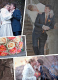 Groom and bride in autumn wedding day Royalty Free Stock Photo